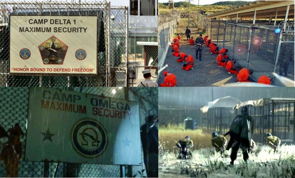 """Wirtualne komentuje prawdziwe: Więzienie i więźniowie w amerykańskiej bazie Guantanamo Bay (u góry) i ich odpowiedniki z """"MGSV: Ground Zeroes"""" (u dołu)"""