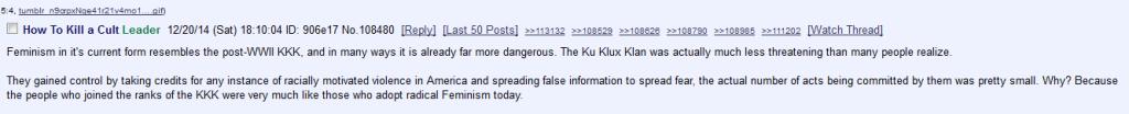 Feministki, gorsze niż Ku Klux Klan. Teza warta 200 postów dyskusji na 8chanie.